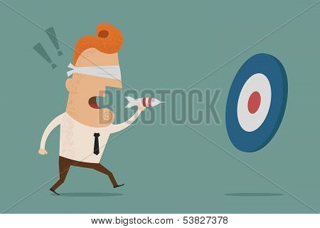 Businessman trying to hit a target Vector