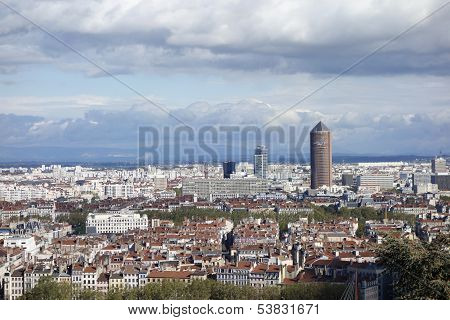 Aerial View Of Lyon, France From Fourviere Hill