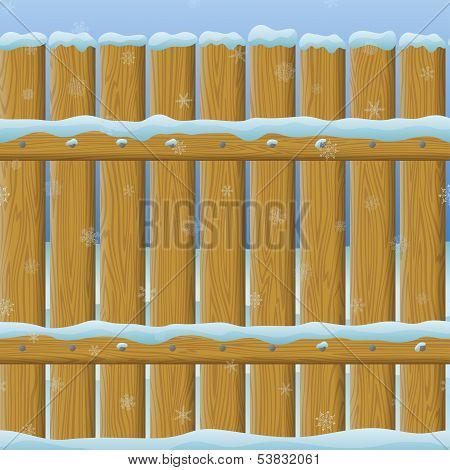 Wooden winter fence, seamless