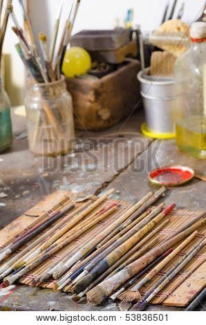 Paintbrushes In An Atelier