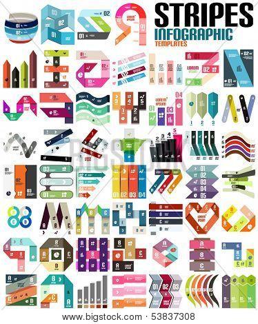 Gran conjunto de plantillas modernas de infografía - rayas, cintas, líneas. Para banderas, fondos de negocios