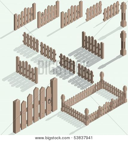 Vector isometric fence