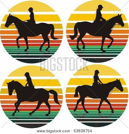 girls on horse - background