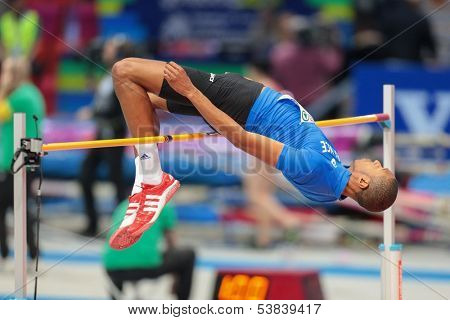 GOTHENBURG, SWEDEN - MARCH 1 Mickael Hanany (FRA) competes in the qualification of the men's high jump event during the European Athletics Indoor Championship on March 1, 2013 in Gothenburg, Sweden.