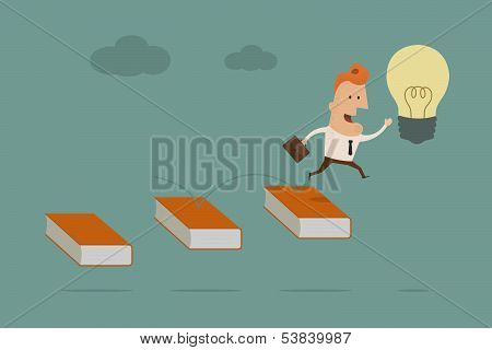 businessman go to light bulb , eps10 vector format