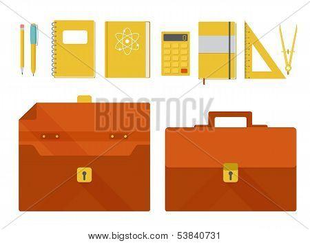 Vector set of briefcase and school supplies