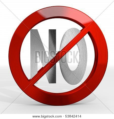 3D Render Of A Forbidden No Sign Not Allowed