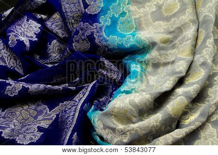 Blue And Silver Satin Textile