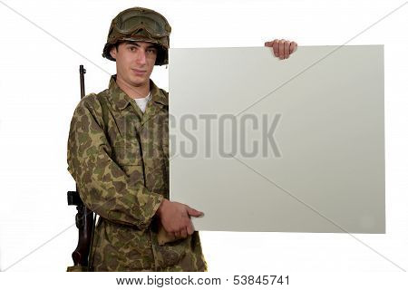 American Soldier Holding A Placard