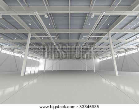New Modern Empty Storehouse. Huge Light Empty Storehouse