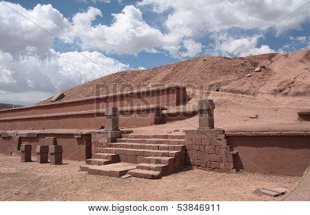 Ancient Pyramid Akapana in Tiwanaku, Bolivia