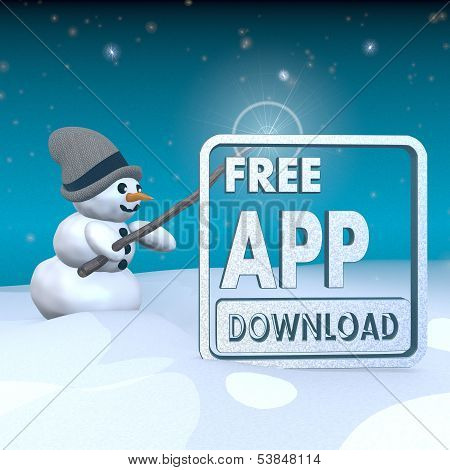 Snowman With Magic Wand And Free App Download Sign