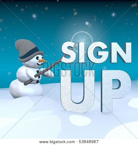 Snowman With Magic Wand And Sign Up Symbol
