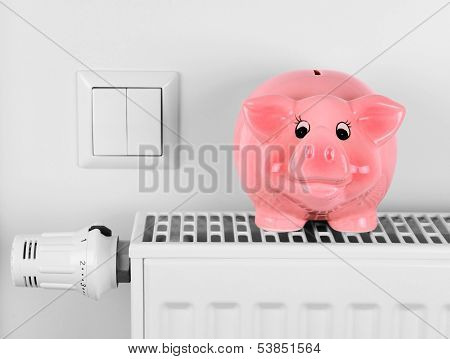 Pink Piggy Bank Saving Electricity And Heating Costs