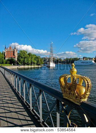 Swedish Crown And Stockholm Harbour