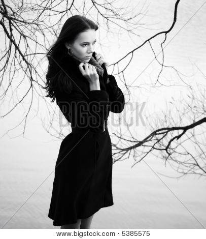 Woman On Autumn Branch Background