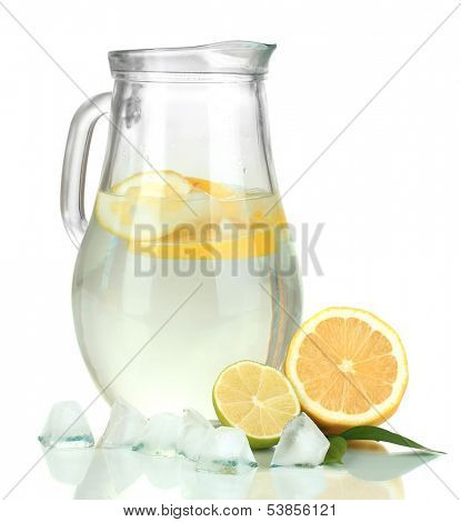 Cold water with lime, lemon and ice in pitcher isolated on white