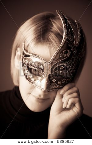 Young Woman With Mask Portrait