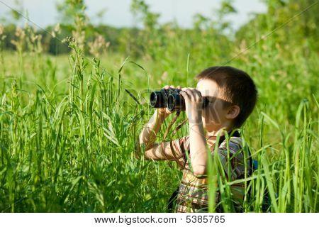 Cabrito con binoculares