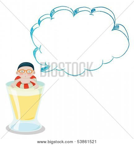 Illustration of a big cup with a young boy having an empty callout on a white background