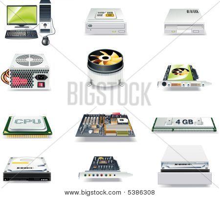 Vector conjunto de iconos de piezas de computadora detallada. Parte 1