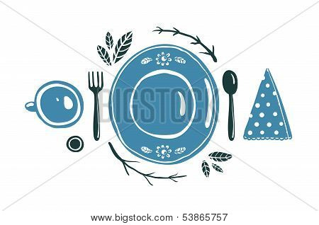 Place Setting Design with Plate Spoon Fork and Cup.