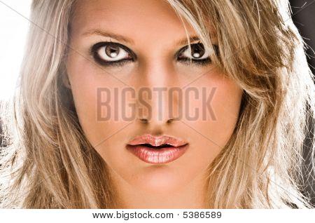 Closeup Of A Beautiful Blond Woman