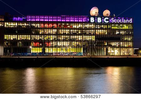 BBC Scotland's headquarters at night