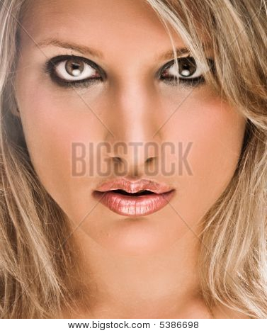 Face Portrait Of A Beautiful Blond Woman