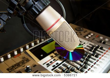Recording Studio With Microphone And Sound Equalizer