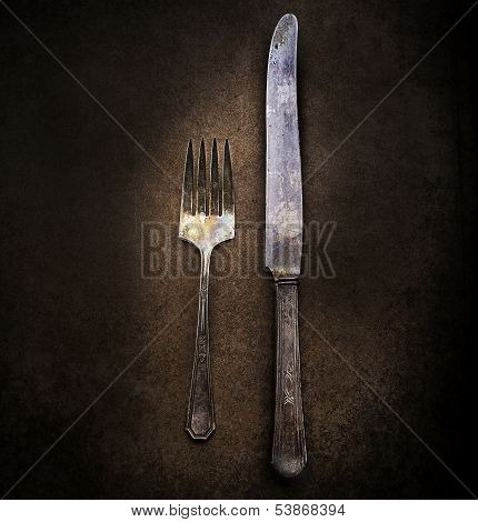Tarnished Fork and Knife