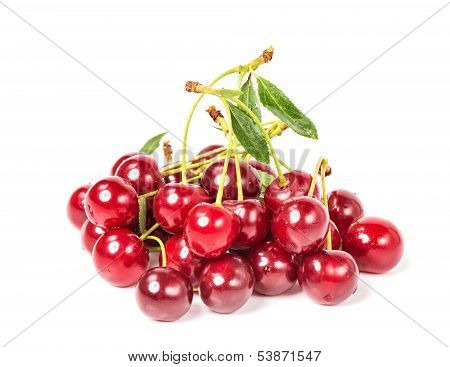 Sweet Juicy Cherry On White Background