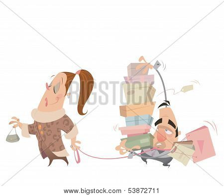 Cartoon Couple Shopping Woman Having Husband With Lash Carrying Bags