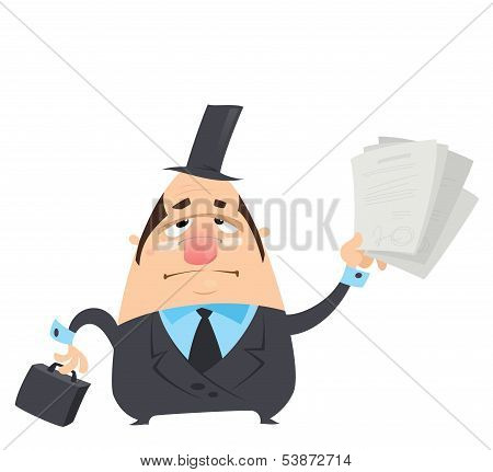 Cartoon Serious Man In Black Costume Holding Papers With Signatures