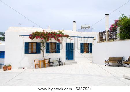 Greek Island Cyclades Architecture Street Scene Cafe With Flowers