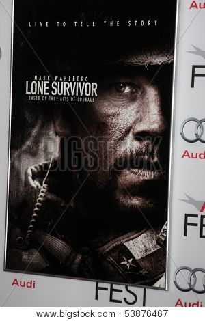 LOS ANGELES - NOV 12:  Lone Survivor Poster at the