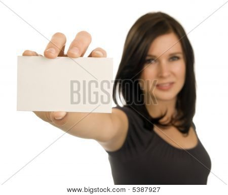Young Woman Holding A Blank Business Card
