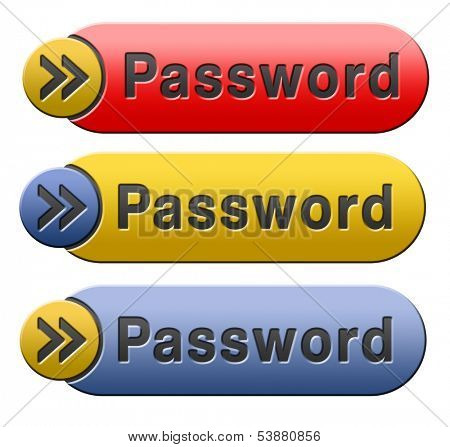 Password button data protection by using strong safe passwords recover and change for security and safety