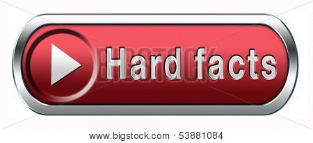 hard facts or proof, scientific proven fact button or icon