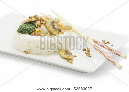 White Rice With Vegetables. White Background