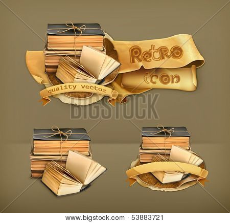 Stack of old books, vector icon