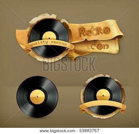 Vinyl record, vector icon