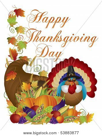 Happy Thanksgiving Day Cornucopia Turkey Illustration