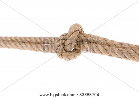 Knot Tied On Two Ropes. For Compound. Close-up On A White Background.