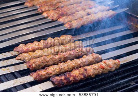 Cooking Adana Lamb Kebabs On The Restaurant Style Grill