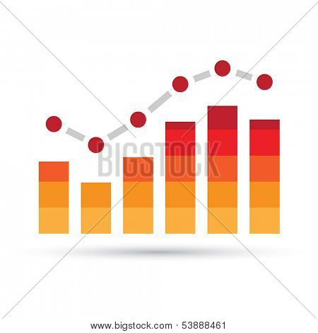 Illustration of Orange Stats Bars isolated on a white background