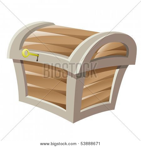 Illustration of Brown Wooden Treasure Chest and Golden Key isolated on a white background