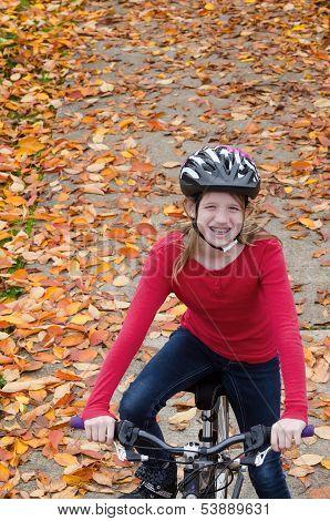 Girl On Fall Bike Path