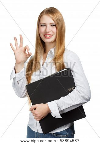 Young Business Woman With Black Folder On White Background