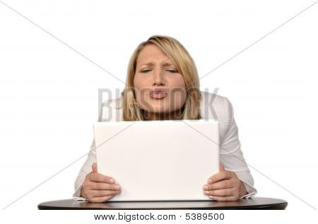 Happy Blond Woman With Laptop